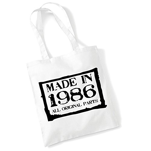 Tote Bags For Women Made in 1986 Printed Cotton Shopper Bag Gifts White