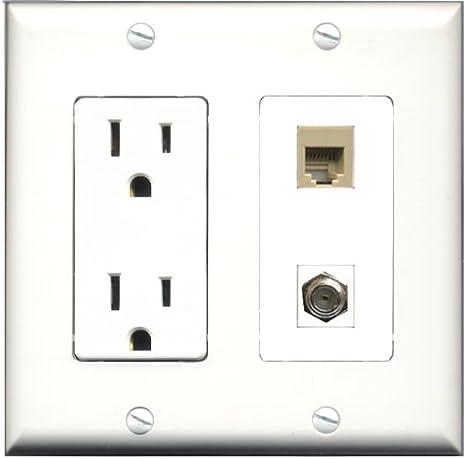 RiteAV – 15 Amp toma de corriente y 1 puerto – Cable de antena TV- Coaxial y 1 puerto teléfono RJ11 RJ12 Beige Decora tipo placa de pared blanco