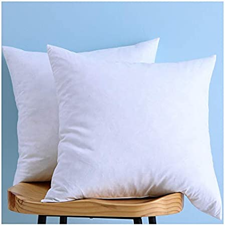 Set Of 2 Cotton Fabric Pillow Inserts Down And Feather Throw Pillow Insert 24x24 Inches Home Kitchen Amazon Com