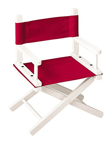(OKSLO 10 in. child's director's chair w white frame & red canvas)