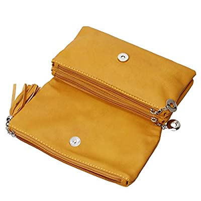 BMC Womens PU Leather Triple Compartment Zipper Tassel Fashion Clutch Handbag