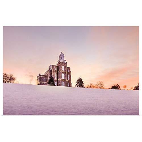 GREATBIGCANVAS Poster Print Entitled Logan Utah Temple, Sunrise in The Snow, Logan, Utah by Scott Jarvie 18