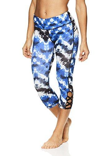Nicole Miller Active Women's Persephone Printed Capri Leggings - Performance Activewear Workout Pants - Bleeding Ink Multi Blue, Medium (Multi Blue Ink)