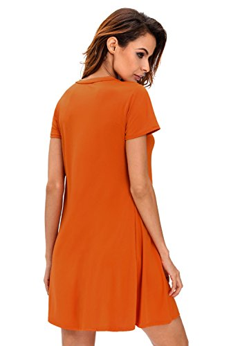 Nuevas señoras naranja encaje hasta Swing vestido Club Wear Evening fiesta tamaño M UK 10–�?2