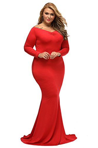 Lalagen Women's Plus Size Off Shoulder Long Sleeve Formal Gown Red XXXL