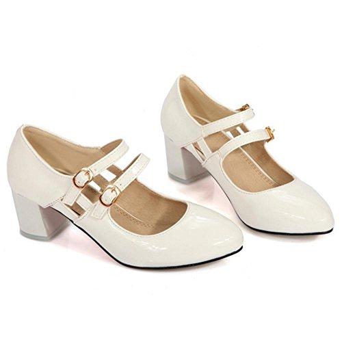 Coolcept Zapatos de Tacon Ancho para Mujer White