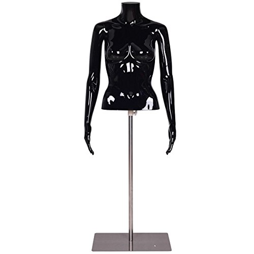 Black Glossy Headless Female Mannequin Torso Display w/ Metal Base Adjustable Height by FDInspiration