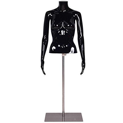 Black Glossy Headless Female Mannequin Torso Display w/ Metal BaseAdjustable Height by FDInspiration