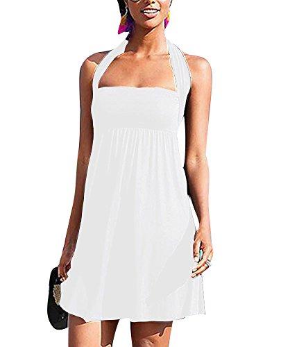 Spiaggia Bianco Donna Maniche Senza Vestito Puro Abito Capestro Colore nwHqpUz