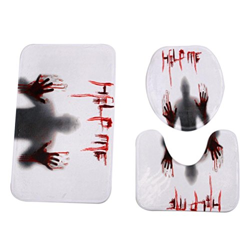 Convinced8 Happy Halloween Pedestal Rug + Lid Toilet Cover + Bath Mat 3PC/Set Polyester fiber (Fun Easy Halloween Costumes Homemade)