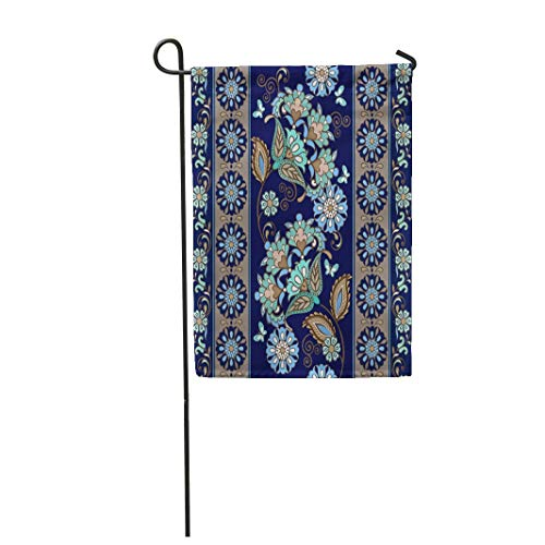 "Tarolo Decoration Flag Blue Border Striped Paisley Floral Traditional Oriental Pattern Flower Ethnic Doodle Thick Fabric Double Sided Home Garden Flag 12"" W x 18"" H"