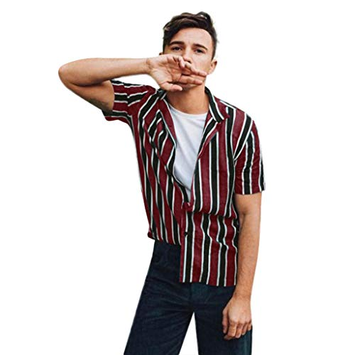 JJLIKER Mens Fashion Striped Shirt Regular Fit Button