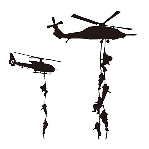 "22x22"" Helicopter Army Soldier Wall Stickers PVC Vinyl Art Decals Teens Boys Men Military Fans Bedroom Home Decoration"