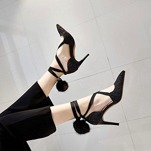 El Mujer Verano Cross Acentuadas De Tacón Zapatos Negro Femeninos Hollow Sandales Strap Baotou Sandalias Alto Plateadas Joker En Nueva Lentejuelas w4U5qp