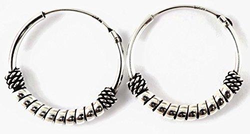 925 Silver Bali Tribal Fashion Earring Hoops Accesssories for Women / Men 5/8