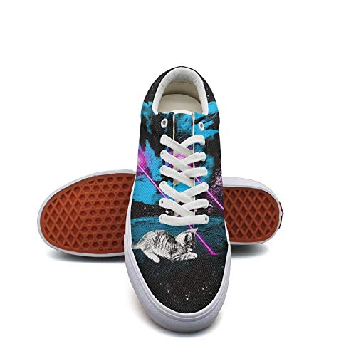 Keppel Teerd Laser Eyes Galaxy Cat Cute Cat Black Low Top Shoes Casual Canvas Sneakers for Women