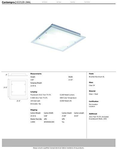 ET2 Lighting E22120-24AL Flush Mount with Clear Glass Shades, Brushed Aluminum Finish by ET2 Lighting (Image #1)