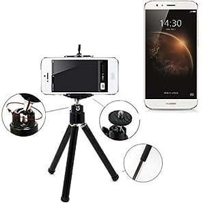 Smartphone trípode / soporte móvil / trípode como para Huawei GX8. Trípode de aluminio / trípode con soporte para el teléfono móvil, universal para todos los teléfonos inteligentes y las cámaras comunes. De color negro. Aferrarse trípode adaptador