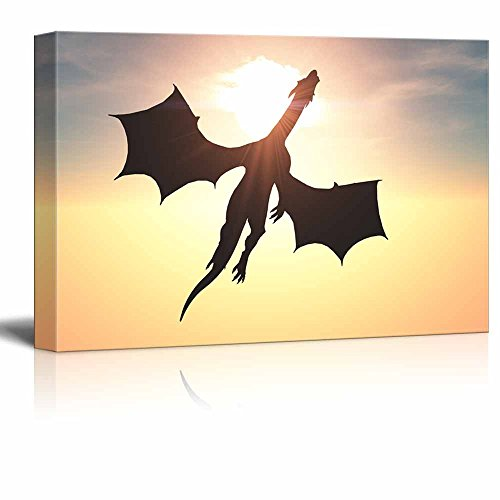 Pictures Dragon Wings - wall26 - Canvas Prints Wall Art - Flying Dragon Against The Sun in The Sky | Modern Wall Decor/Home Decoration Stretched Gallery Canvas Wrap Giclee Print. Ready to Hang - 12