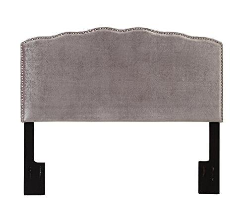 Pulaski Nail Head Upholstered Headboard, King, Velvet Shimmer Silver