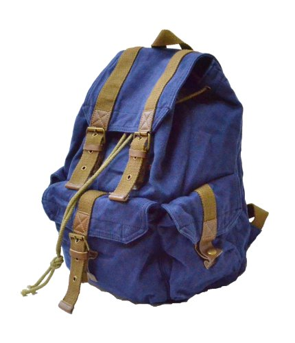 Rakuda Vintage Style Canvas Bag, Carrier Series Backpack, Large and Comfortable By Rakuda (Blue), Outdoor Stuffs