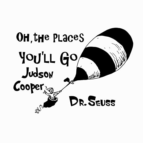 Name WALL DECAL Quote Dr Seuss Custom Personalized Vinyl Sticker Decals Quotes Oh The Places You'll Go Wall Decor Nursery Baby Room Art -
