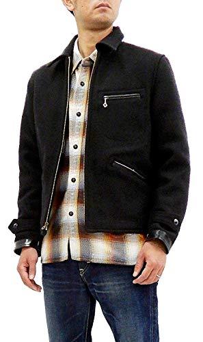 Sugar Cane Men's Slim Fit Wool Melton Sports Jacket 1930s Vintage Style SC13670 Black Japan 40 (US M/UK 38)