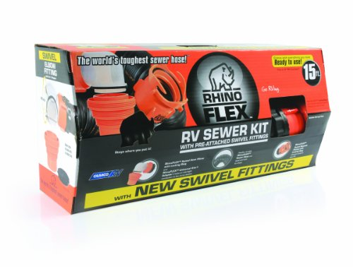Camco 39761 RhinoFLEX 15 RV Sewer Hose Kit with Swivel Fittings