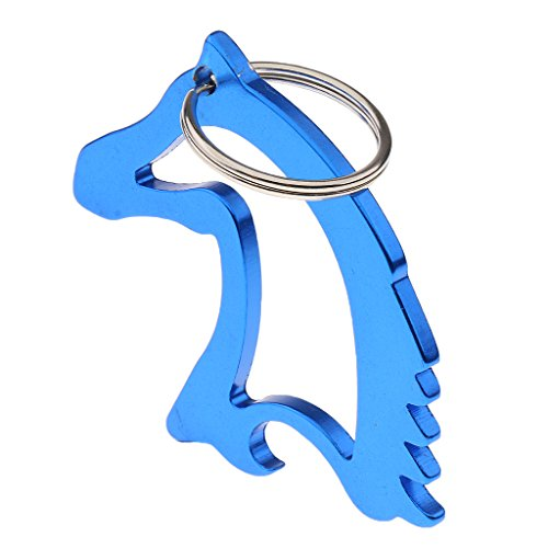 MagiDeal Portable Aluminum Alloy Horse Head Pattern Bottle Opener with Key Ring Keychain - Blue -