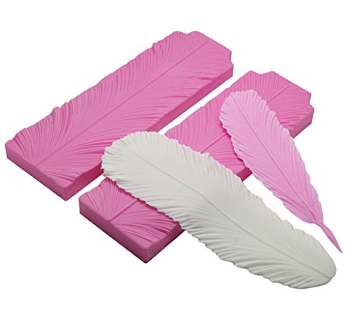 FOUR-C Cake Tools Feather Veiner Molds Silicone Fondant Moulds Cake Toppers Color Pink