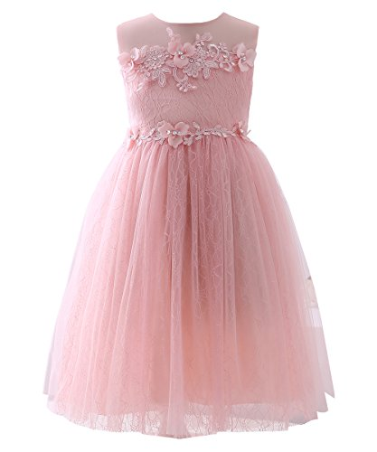 Dillards Dresses For Kids (Abaosisters Girls Dress Sleeveless Lace Neckline Frocks Coral 8-9 yrs)