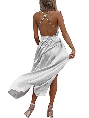Sequin Up Simplee s Lace Silver Satin Dress Women Long Gray Dress Backless Maxi Apparel CCtBqRAp