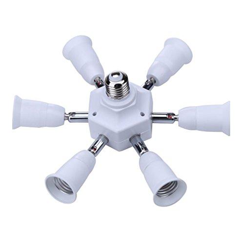 (E27 Socket Adapter to 7 E27 Standard LED Bulbs Splitter Adapter,E26 E27 Universal lamp holder with 360 Degrees Adjustable 180 Degree Bending (7 in 1 Socket Adapter))
