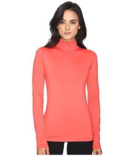 NIKE Women Pro Warm Top (Ember Glow/Bright Citrus, (Sleeveless Half Zip Top)