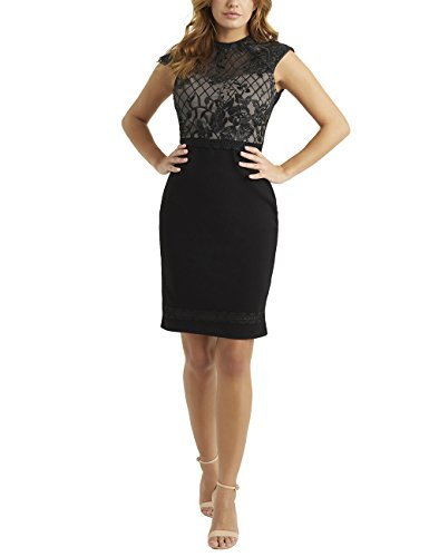 Bubble Hem Baby Doll - LIPSY Womens Petite Lace Grid Artwork Bodycon Dress Black US 12 (UK 16)