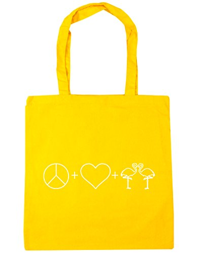 x38cm Flamingos Bag litres Beach 10 Shopping Peace Love Yellow HippoWarehouse Tote 42cm Gym and wqUC8vS