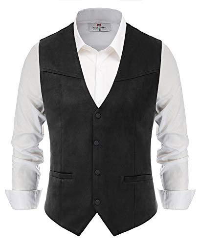 PJ PAUL JONES Men's Suede Leather Vest Casual Western Waistcoat Jacket