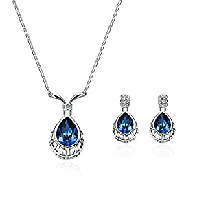 Yonteia Jewelry Set Blue Waterdrop Pendant Necklace and Earrings Gifts For Women