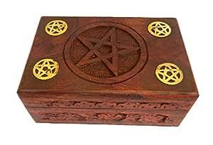 CINCO Pentagrama Madera Caja con grabado Pentagrama Dentro de un círculo y Cuatro Latón PENTAGRAMA PARA Tarot Tarjetas, joya, SPELL Caja etc.