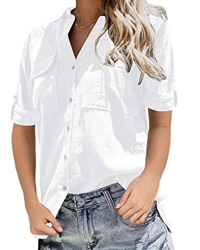 Womens Casual Tops V Neck Button Up Shirts Linen Cuffed Sleeve Collared Slit Blouse