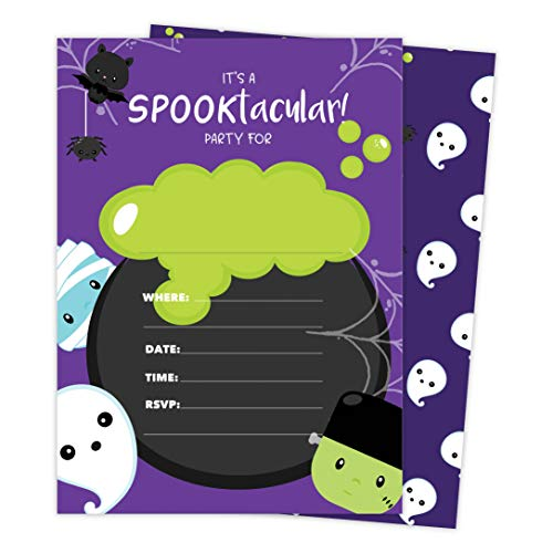 Halloween Boy 1 Happy Birthday Invitations Invite Cards (25 Count) With Envelopes and Seal Stickers Vinyl Girls Boys Kids Party (25ct)]()