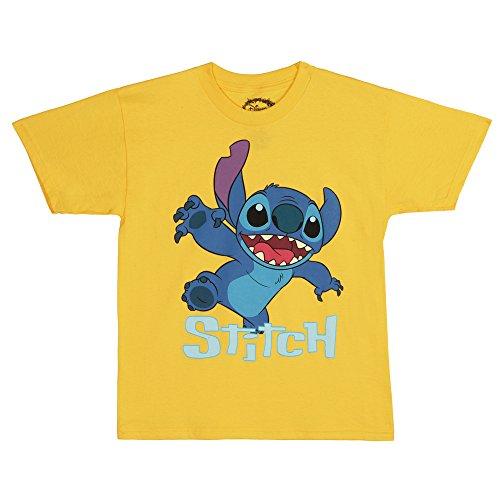 Stitch Lilo Animated (Lilo and Stitch Comin' At Ya Youth T-Shirt - Yellow (Small))