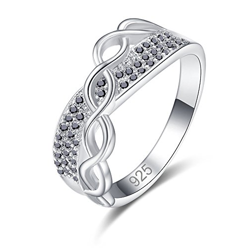 Psiroy 925 Sterling Silver Created Black Spinel Filled Round Cut Infinity Knot Stackable Band Ring for Women Size 9