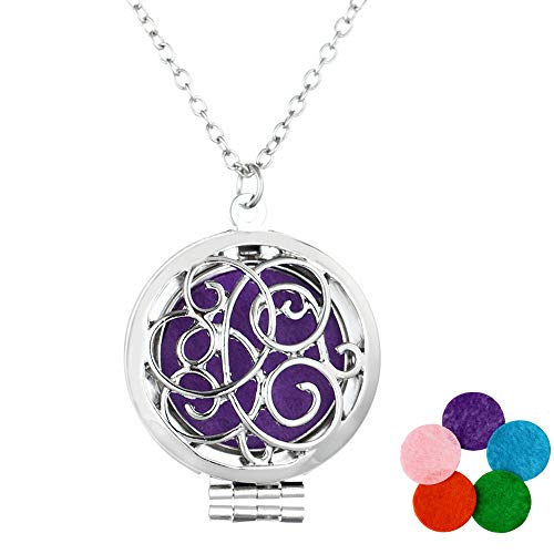 MJartoria Stainless Steel Aromatherapy Essential Oil Diffuser Locket Pendant Necklace with 5PCS Refill Replacement Pads for Women Gift Set