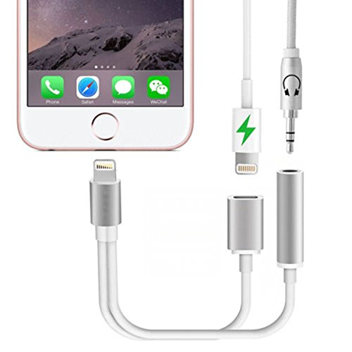 Dual Head Connector ([Sliver] 2 in 1 Lightning to 3.5mm Audio Adapter, Eroan Lightning Charger, Lightning to 3.5mm Aux Headphone Jack Adapter for iphone 7 / 7 plus [No Calling Function and No Music Control])