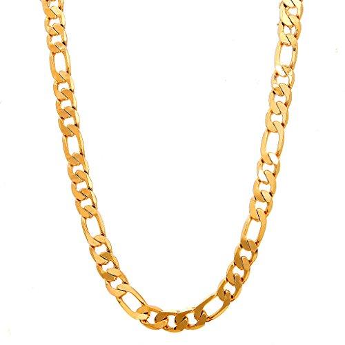 Followmoon 18k Gold Plated Flat Figaro Link Necklace Chain or Bracelet -Width 1.8mm-12mm,Length 18