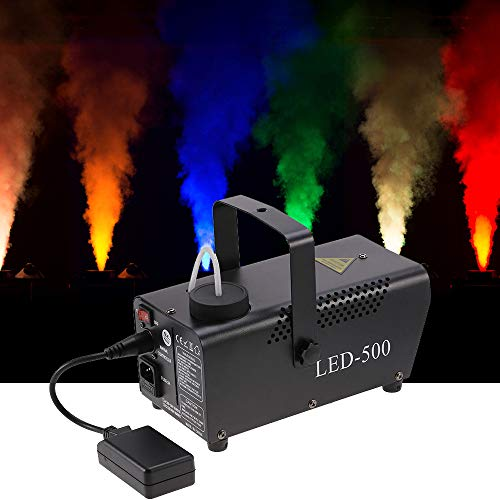 Fog Machine with LED Lights, 500W RGB Remote Control Smoke Effect Maker Fog Generator Stage Fogger for Wedding, Party, Concert, DJ Dance