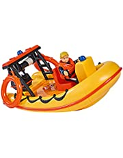 Simba 109251047 - Brandweerman Sam Neptune boot, met Penny figuur in duikoutfit, met geheim vak en mechanische lier drijft op het water, 20 cm, voor kinderen vanaf 3 jaar