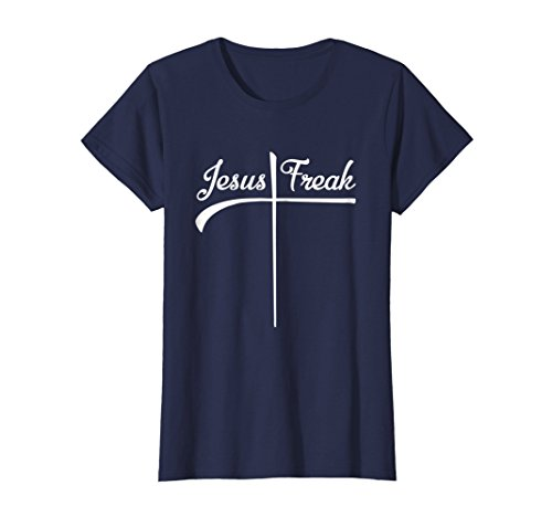 Womens Jesus Freak Dark T-shirt with Script Lettering Medium Navy ()