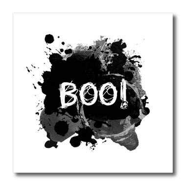 3dRose InspirationzStore - Occasions - Boo - Scare Message Text Happy Halloween Spooky Dark Black Ink Splats - 10x10 Iron on Heat Transfer for White Material (ht_317311_3) -
